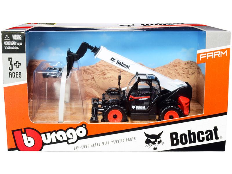 Bobcat T40.180SLP Telescopic Handler Pallet Fork Black White Diecast Model Bburago 32087