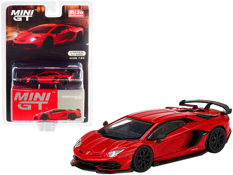 Lamborghini Aventador SVJ Rosso Mars Red Limited Edition 3000 pieces Worldwide 1/64 Diecast Model Car True Scale Miniatures MGT00198