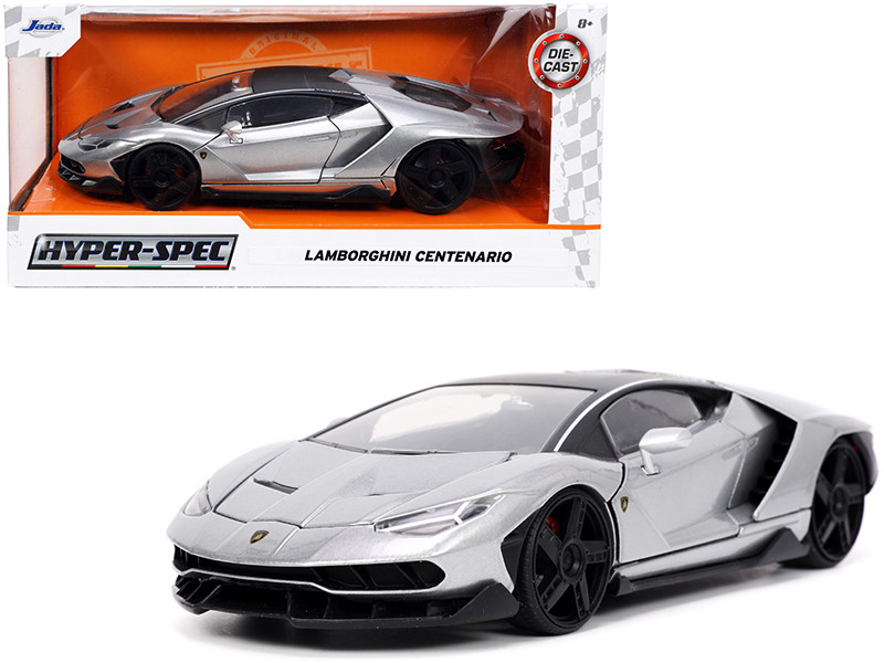 Lamborghini Centenario Gray Metallic Black Top Hyper-Spec Series 1/24 Diecast Model Car Jada 32277