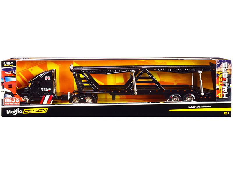 Mack Anthem Nissan Nismo Car Transporter Black Custom Haulers Series 1/64 Diecast Model Maisto 12419
