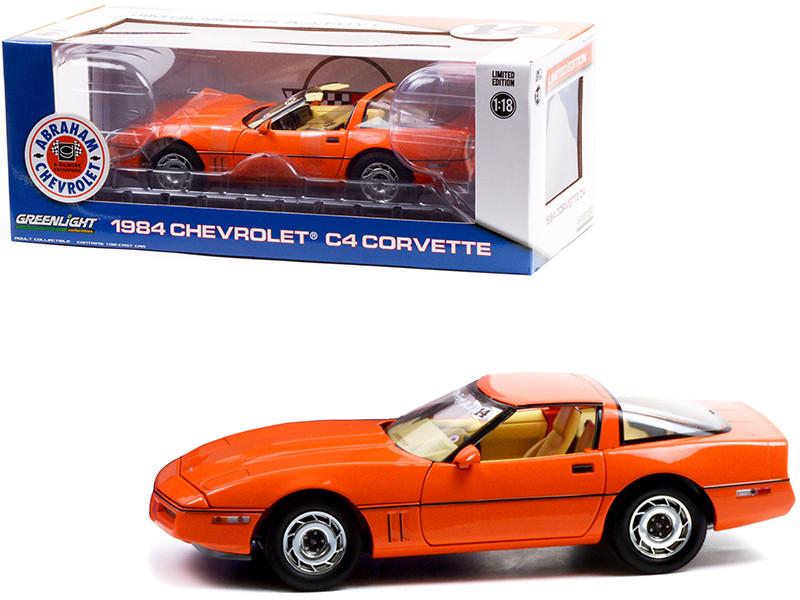 1984 Chevrolet Corvette C4 Hugger Orange Jim Gilmore & AJ Foyt Limited Edition Special Order 1/18 Diecast Model Car Greenlight 13595
