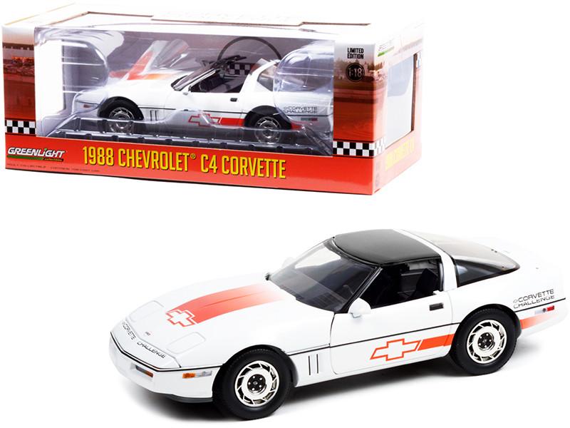 1988 Chevrolet Corvette C4 White Black Top Orange Stripes Corvette Challenge Race Car 1/18 Diecast Model Car Greenlight 13596