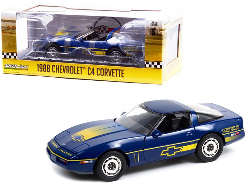 1988 Chevrolet Corvette C4 Dark Blue Yellow Stripes Corvette Challenge Race Car 1/18 Diecast Model Car Greenlight 13597