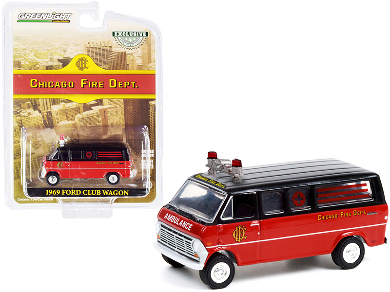 1969 Ford Club Wagon Ambulance Black Red Chicago Fire Department Hobby Exclusive 1/64 Diecast Model Car Greenlight 30242