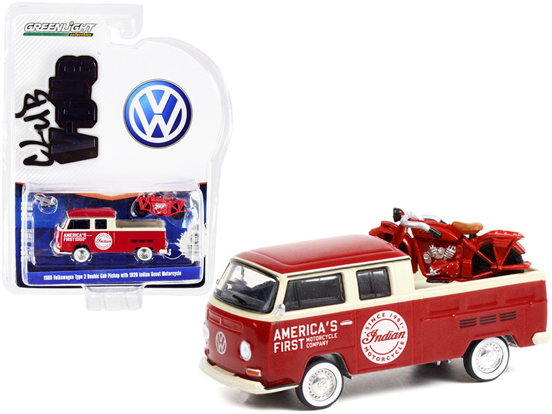 1968 Volkswagen Type 2 Double Cab Pickup Truck Red Cream America's First Motorcycle Company 1920 Indian Scout Motorcycle Red Club Vee V-Dub Series 13 1/64 Diecast Model Car Greenlight 36030 A