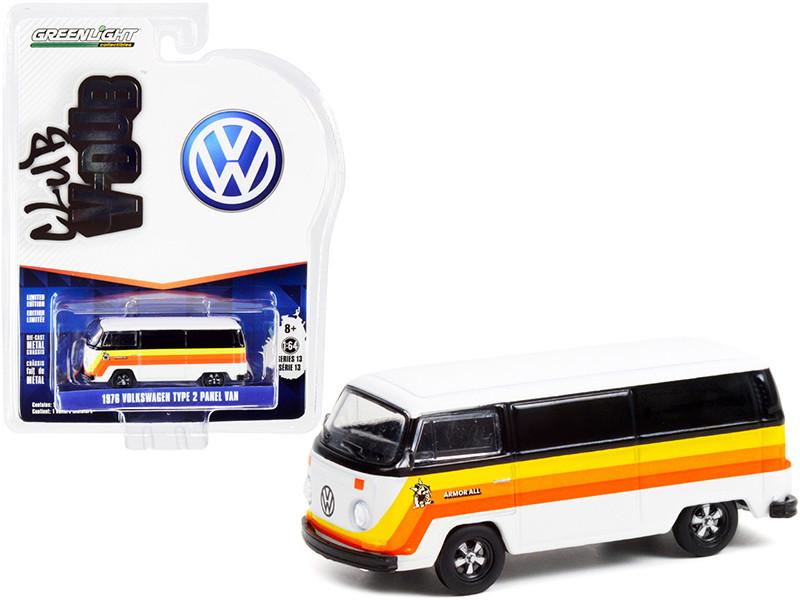 1976 Volkswagen Type 2 Panel Van Armor All White Black Stripes Club Vee V-Dub Series 13 1/64 Diecast Model Greenlight 36030 B
