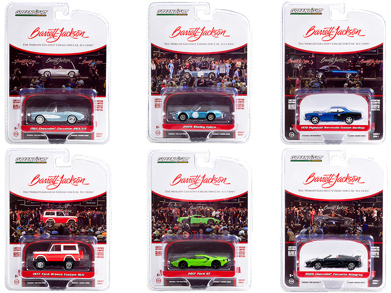 Barrett Jackson Scottsdale Edition Set of 6 Cars Series 7 1/64 Diecast Model Cars Greenlight 37230