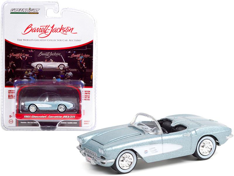 1961 Chevrolet Corvette 283/315 Convertible Sateen Silver Metallic Black Interior Lot #681 Barrett Jackson Scottsdale Edition Series 7 1/64 Diecast Model Car Greenlight 37230 A