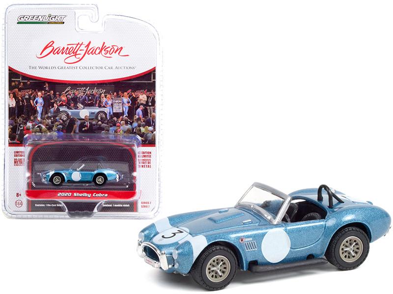 2020 Shelby Cobra FIA Bondurant Tribute #3 1964 Shelby Viking Blue Metallic White Stripe Lot #1321.1 Barrett Jackson Scottsdale Edition Series 7 1/64 Diecast Model Car Greenlight 37230 B