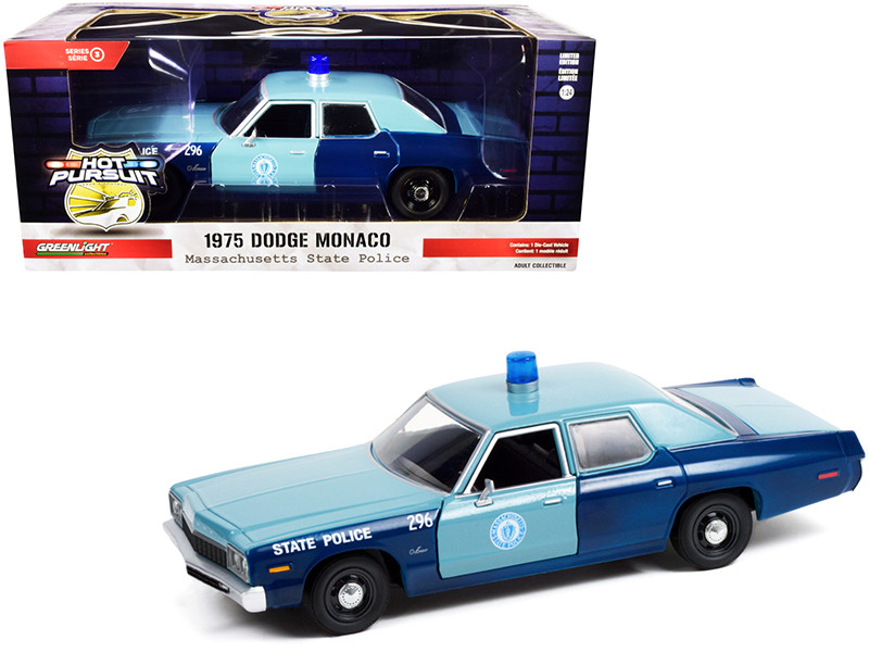 1975 Dodge Monaco Light Blue Dark Blue Massachusetts State Police Hot Pursuit Series 1/24 Diecast Model Car Greenlight 85532
