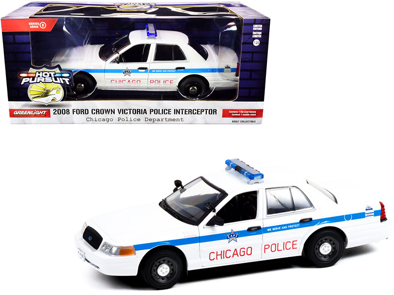 2008 Ford Crown Victoria Police Interceptor CAPS White Blue Stripes Chicago Police Department Hot Pursuit Series 1/24 Diecast Model Car Greenlight 85533