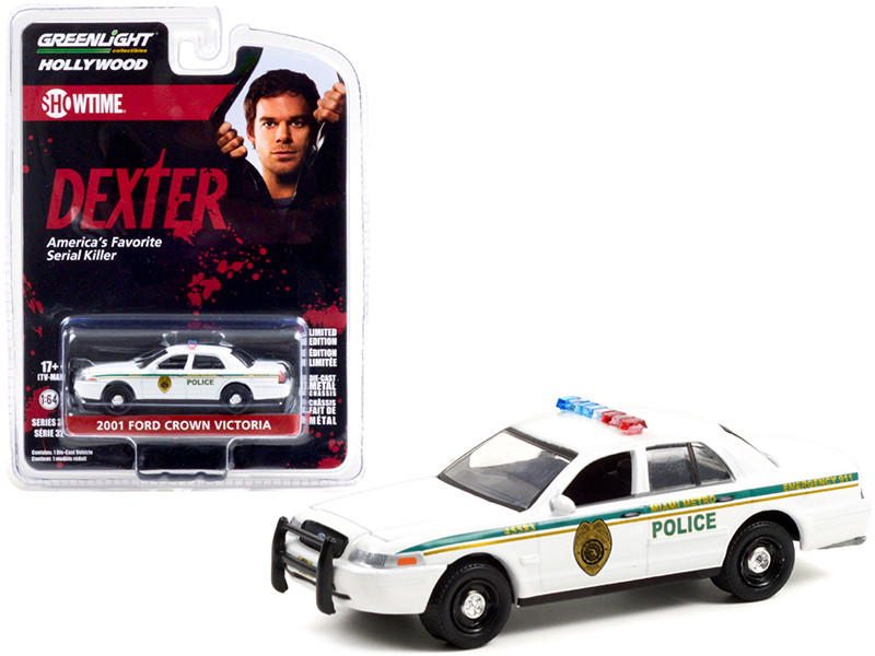 2001 Ford Crown Victoria Police Interceptor White Miami Metro Police Department Dexter 2006 2013 TV Series Hollywood Series Release 32 1/64 Diecast Model Car Greenlight 44920 B