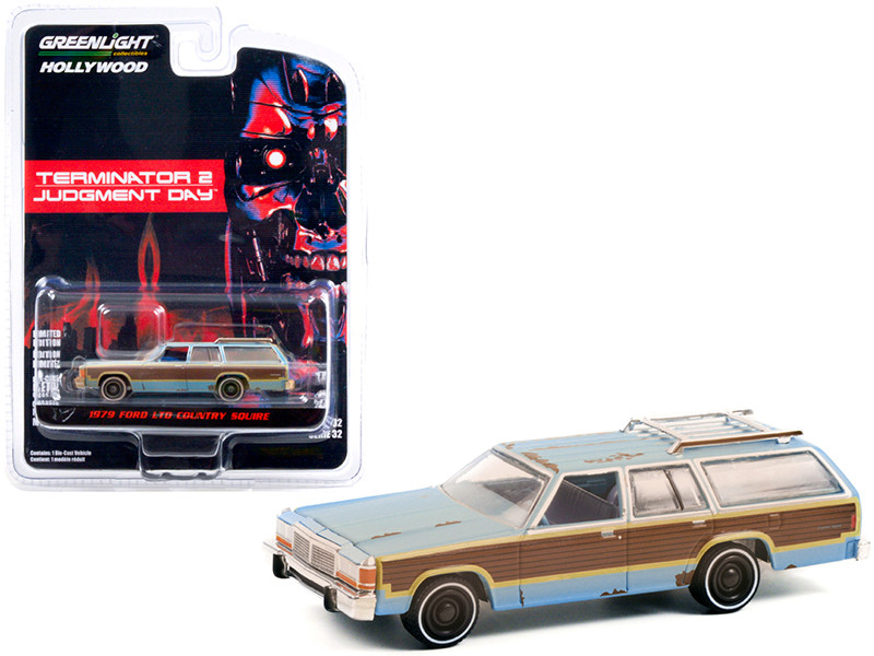 1979 Ford LTD Country Squire Light Blue Woodgrain Sides Weathered Terminator 2 Judgment Day 1991 Movie Hollywood Series Release 32 1/64 Diecast Model Car Greenlight 44920 C