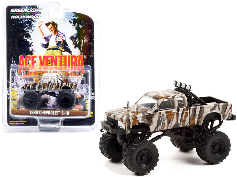 1989 Chevrolet S-10 Extended Cab Monster Truck Camouflage Ace Ventura When Nature Calls 1995 Movie Hollywood Series Release 32 1/64 Diecast Model Car Greenlight 44920 E
