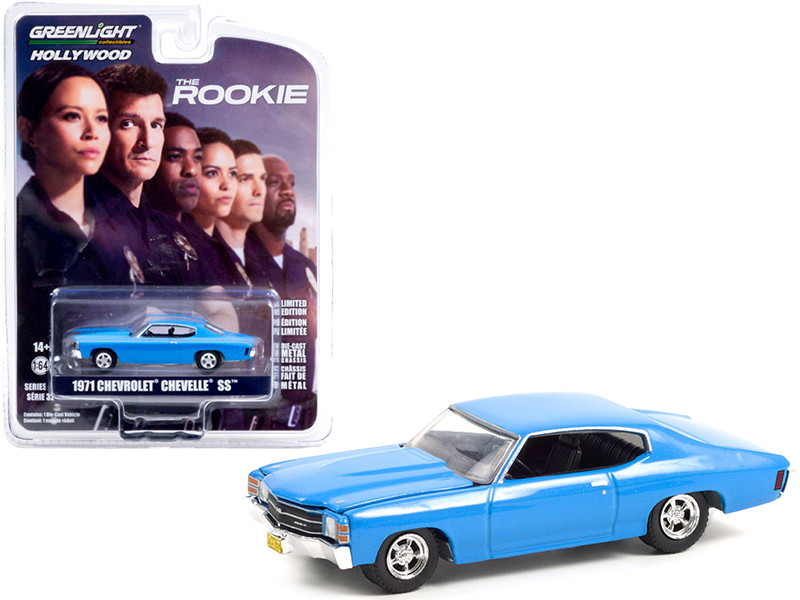 1971 Chevrolet Chevelle SS Blue Officer John Nolan's The Rookie 2018 TV Series Hollywood Series Release 32 1/64 Diecast Model Car Greenlight 44920 F