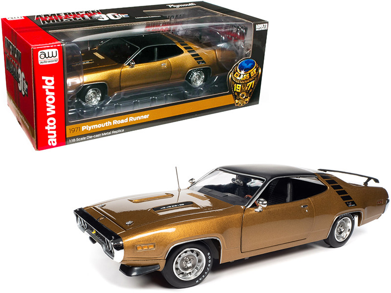 1971 Plymouth RoadRunner 440+6 Hardtop GY8 Gold Leaf Metallic Black Top Stripes Class of 1971 American Muscle 30th Anniversary 1991 2021 1/18 Diecast Model Car Autoworld AMM1258