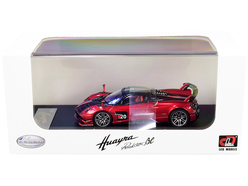 Pagani Huayra Roadster BC Red Metallic Carbon Red White Stripes 1/64 Diecast Model Car LCD Models 64011