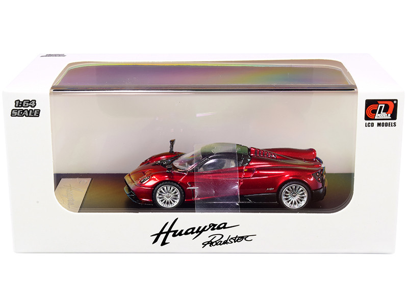 Pagani Huayra Roadster Red Metallic Carbon Top Carbon Accents 1/64 Diecast Model Car LCD Models 64015