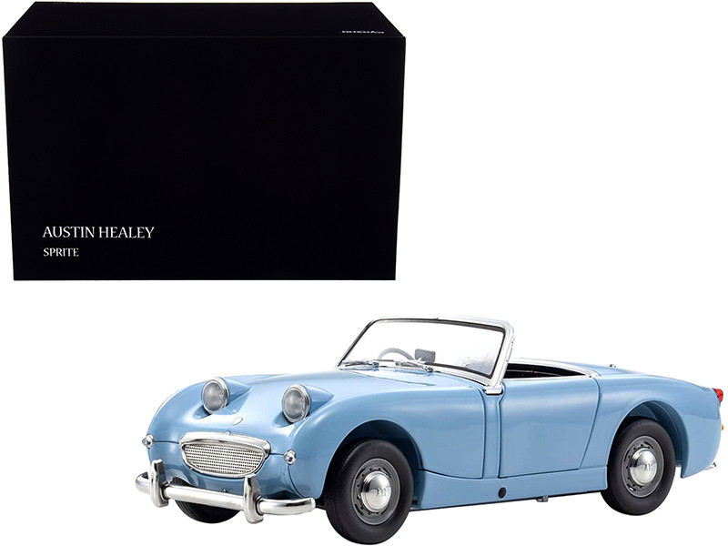 Austin Healey Sprite Convertible Right Hand Drive Speedwell Blue Blue Interior 1/18 Diecast Model Car Kyosho 08953 SBL
