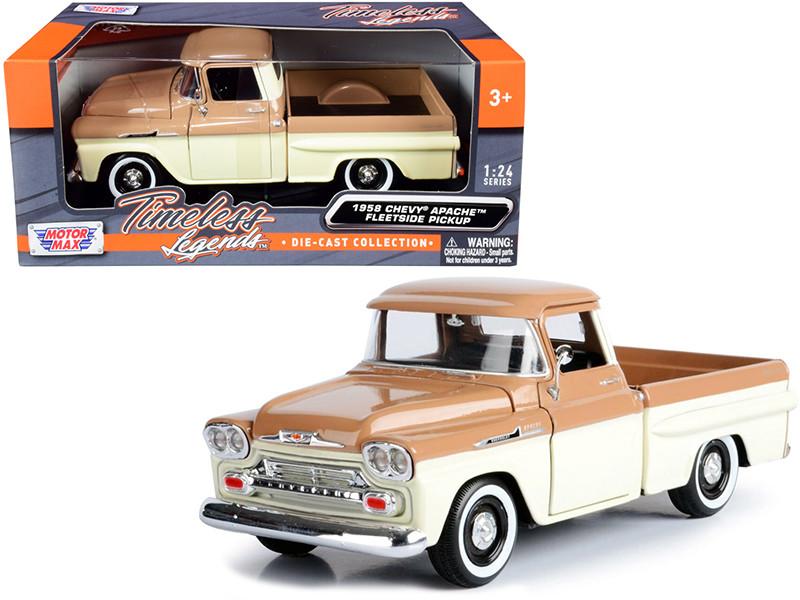 1958 Chevrolet Apache Fleetside Pickup Truck Brown and Beige 1/24 Diecast Model Car Motormax 79311