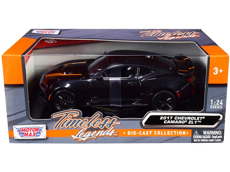 2017 Chevrolet Camaro ZL1 Black Metallic Orange Stripes 1/24 Diecast Model Car Motormax 79351
