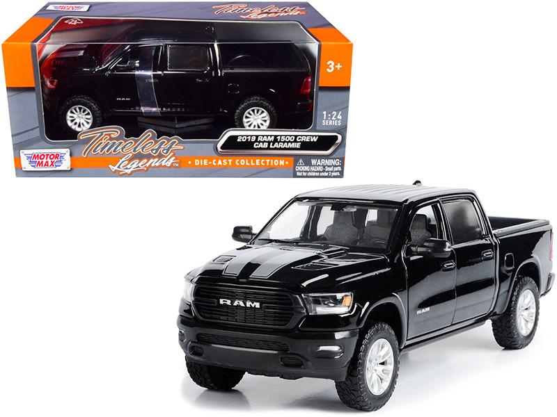 2019 RAM 1500 Laramie Crew Cab Pickup Truck Black Silver Stripes 1/24 Diecast Model Car Motormax 79357