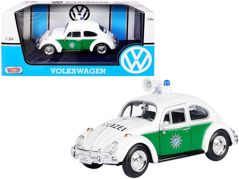 1966 Volkswagen Beetle German Police Car White and Green 1/24 Diecast Model Car Motormax 79588