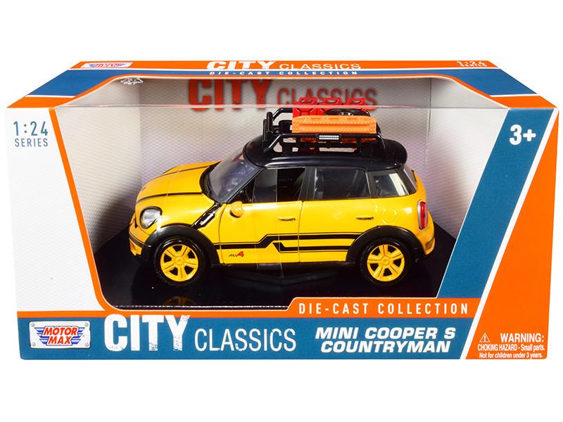 Mini Cooper S Countryman Roof Rack Accessories Yellow Metallic and Black City Classics Series 1/24 Diecast Model Car Motormax 79752