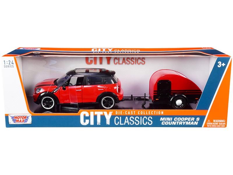 Mini Cooper S Countryman Travel Trailer Red and Black City Classics Series 1/24 Diecast Model Car Motormax 79761