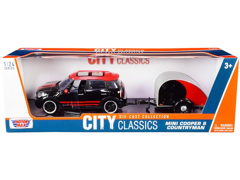 Mini Cooper S Countryman Travel Trailer Black and Red City Classics Series 1/24 Diecast Model Car Motormax 79762