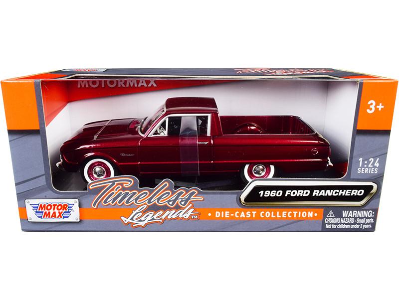 1960 Ford Ranchero Pickup Burgundy Metallic 1/24 Diecast Model Car Motormax 79321