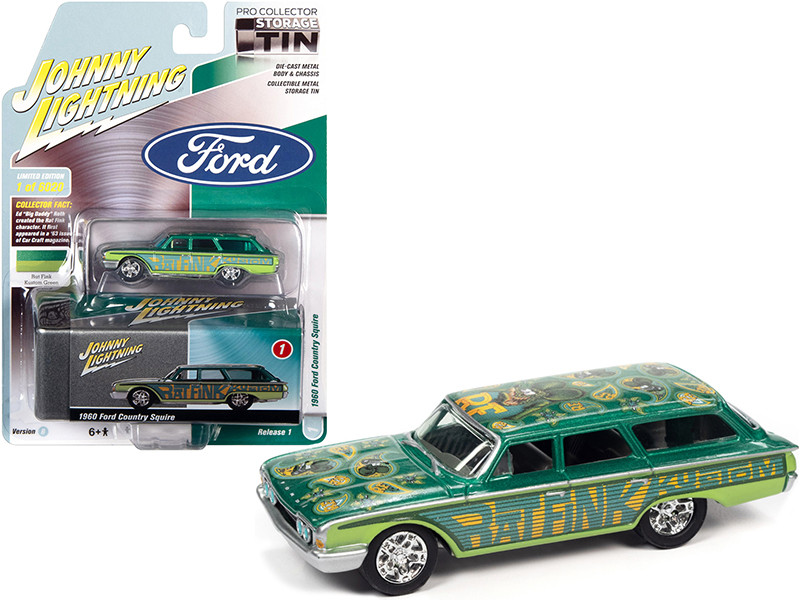 1960 Ford Country Squire Rat Fink Kustom Green Teal with Graphics Collector Tin Limited Edition 6020 pieces Worldwide 1/64 Diecast Model Car Johnny Lightning JLCT006-JLSP146 B