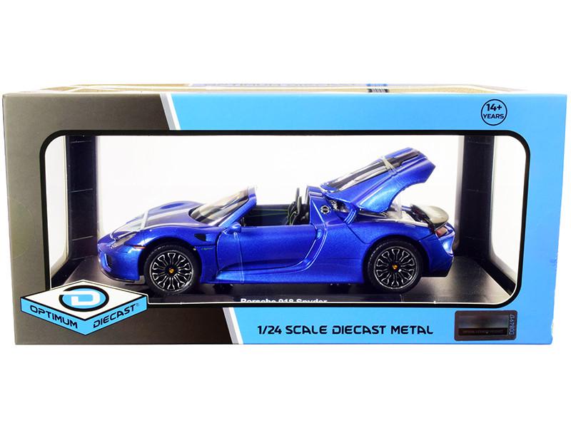 Porsche 918 Spyder Convertible Blue Metallic 1/24 Diecast Model Car Optimum Diecast 724243