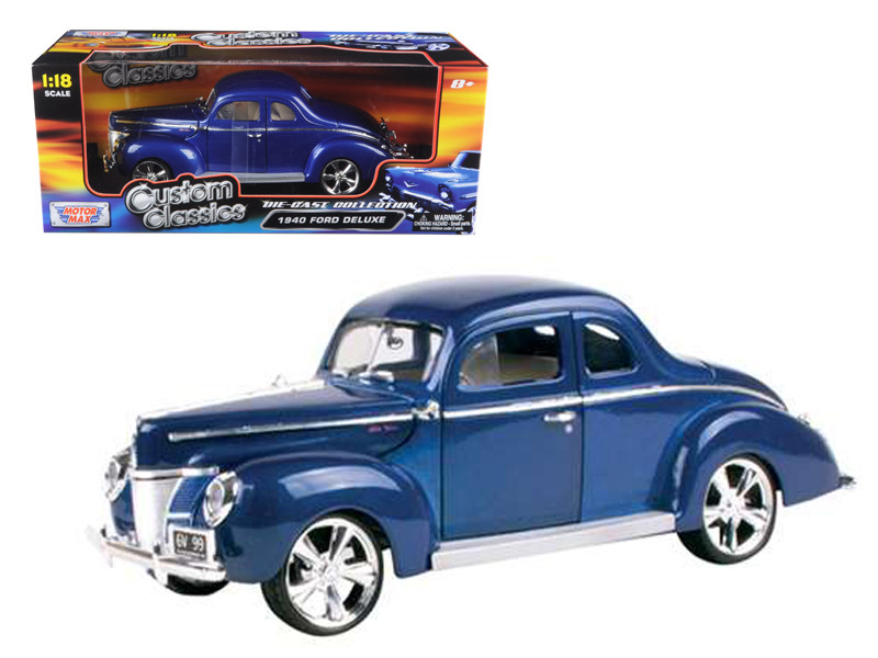 1940 Ford Coupe Deluxe Blue With Custom Wheels 1/18 Diecast Car Model Motormax 79003