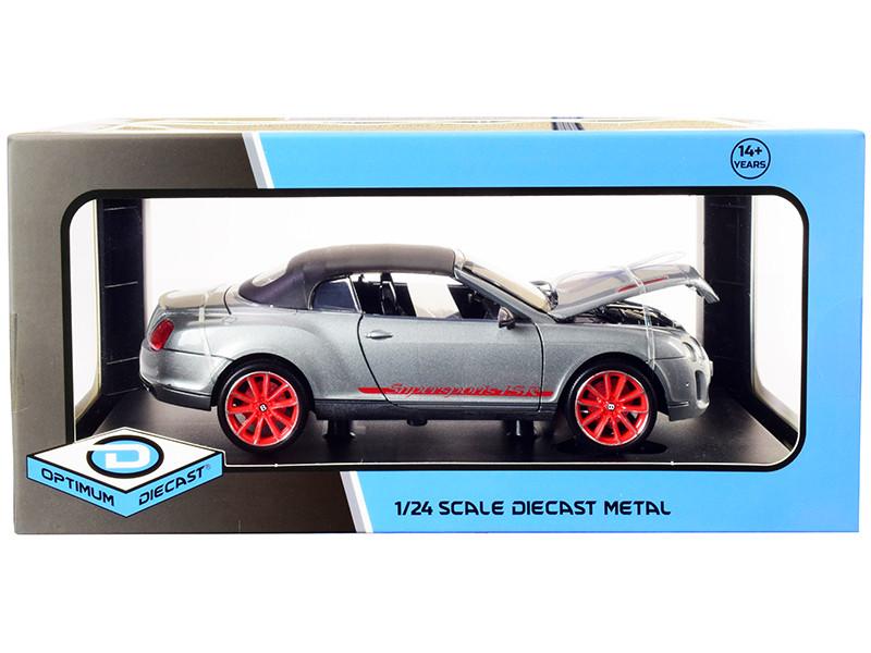 Bentley Continental Supersports ISR Gray Metallic Black Top Red Wheels 1/24 Diecast Model Car Optimum Diecast 724247