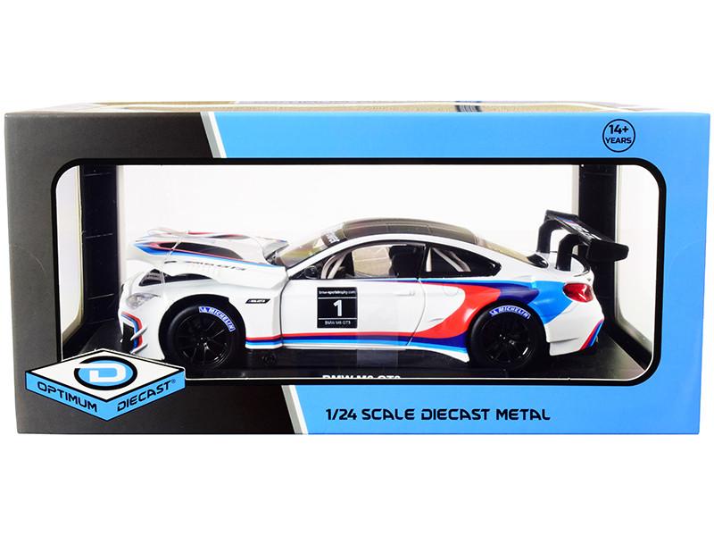 BMW M6 GT3 #1 White Black Top Stripes 1/24 Diecast Model Car Optimum Diecast 724255