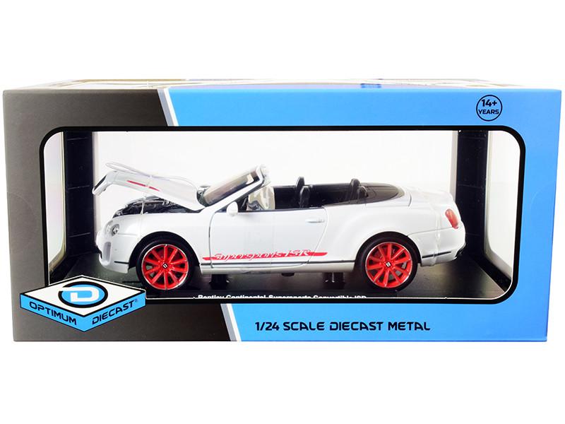 Bentley Continental Supersports ISR Convertible White Metallic Red Wheels 1/24 Diecast Model Car Optimum Diecast 724259