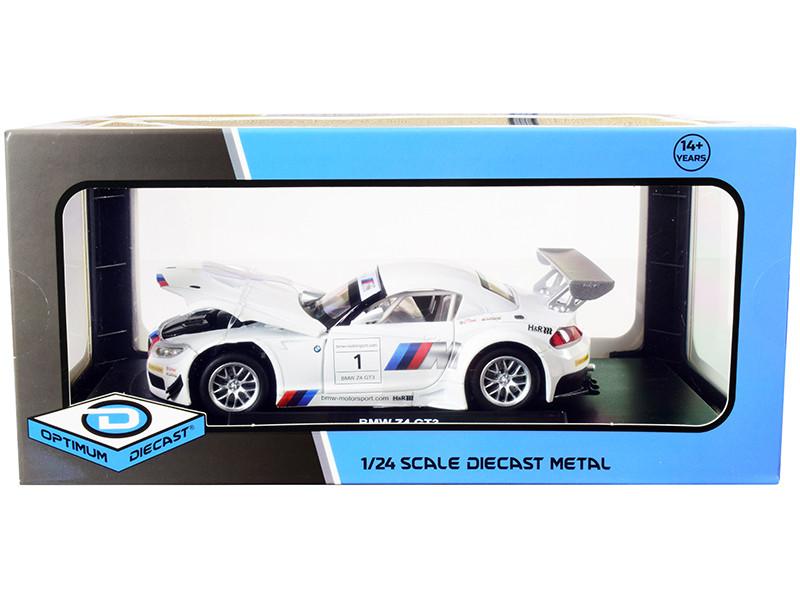 BMW Z4 GT3 #1 White Silver 1/24 Diecast Model Car Optimum Diecast 724260