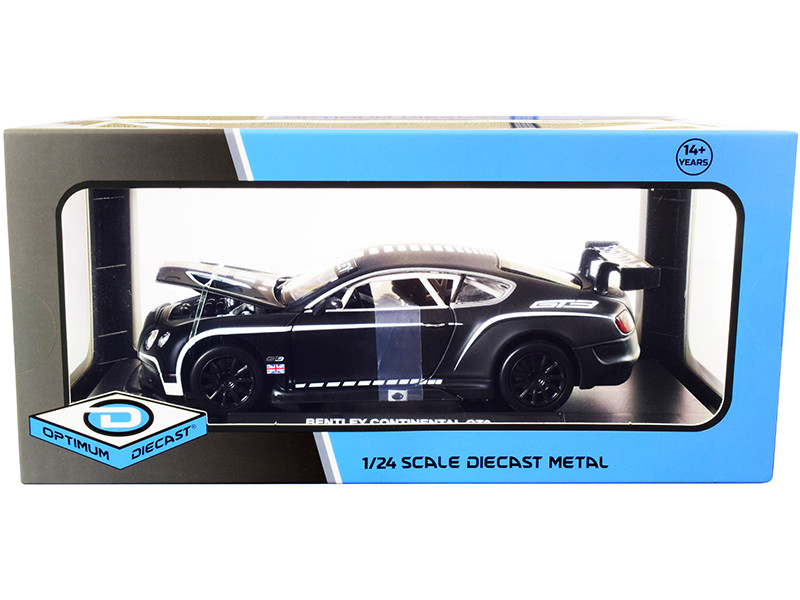 Bentley Continental GT3 Matt Black White Stripes 1/24 Diecast Model Car Optimum Diecast 724266