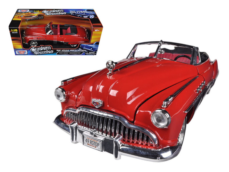 1949 Buick Roadmaster Red/Black Custom 1/18 Diecast Car Model Motormax 79004