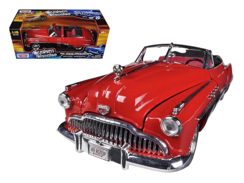 1949 Buick Roadmaster Red/Black Custom 1/18 Diecast Car Model Motormax 79004