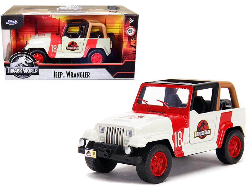 Jeep Wrangler #18 Jurassic Park Red Beige Jurassic World 1/32 Diecast Model Car Jada 32129
