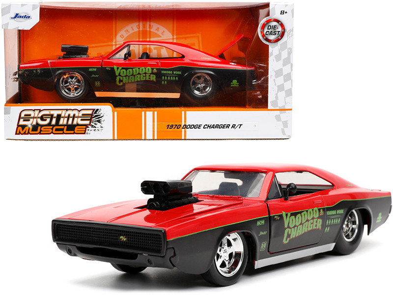 1970 Dodge Charger R/T Voodoo Charger Red Black Bigtime Muscle 1/24 Diecast Model Car Jada 32703