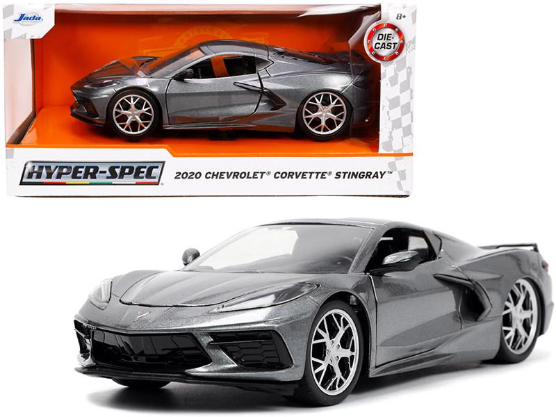 2020 Chevrolet Corvette Stingray C8 Dark Gray Metallic Hyper-Spec 1/24 Diecast Model Car Jada 32716