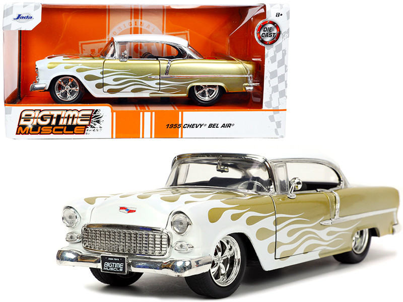 1955 Chevrolet Bel Air White Gold Flames Bigtime Muscle 1/24 Diecast Model Car Jada 32917