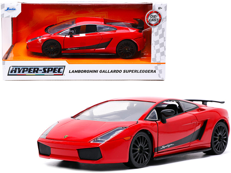 Lamborghini Gallardo Superleggera Red Black Stripes Hyper-Spec Series 1/24 Diecast Model Car Jada 32945