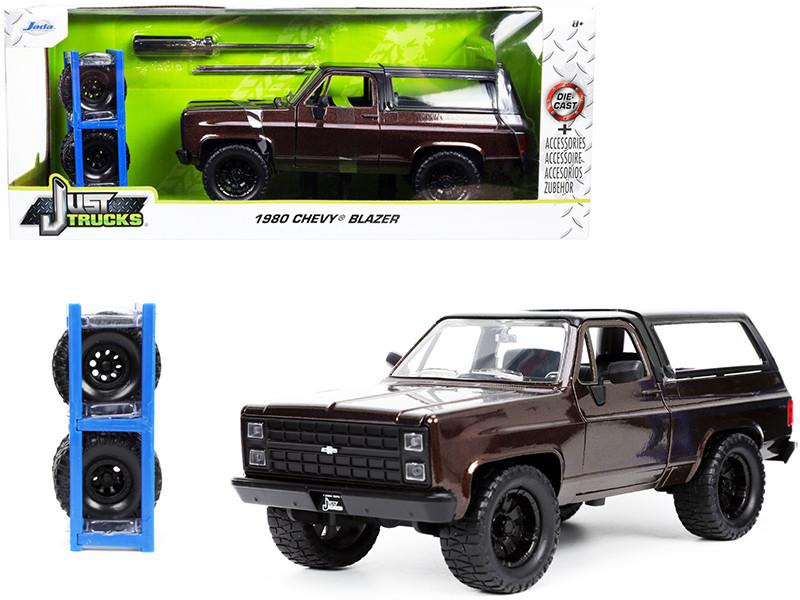 1980 Chevrolet Blazer Dark Brown Metallic Black Top Extra Wheels Just Trucks Series 1/24 Diecast Model Car Jada 33017