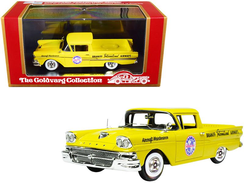 1958 Ford Ranchero Aircraft Maintenance Car Yellow Braniff International Airways Limited Edition 125 pieces Worldwide 1/43 Model Car Goldvarg Collection GC-BI-002