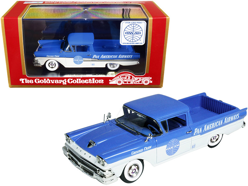 1958 Ford Ranchero Ground Crew Car Blue White Pan American Airways Limited Edition 220 pieces Worldwide 1/43 Model Car Goldvarg Collection GC-PAA-002
