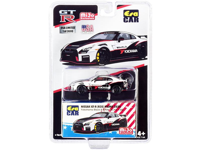 2020 Nissan GT-R R35 Nismo Yokohama Black White Carbon Top Red Stripes Limited Edition 3600 pieces 1/64 Diecast Model Car Era Car ESPMJ004B
